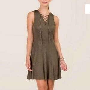 Francesca's NWT olive green Zariah lattice A Line